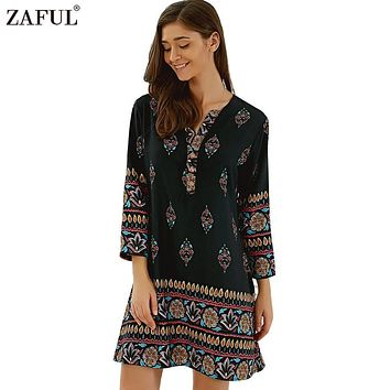 ZAFUL Plus NEW Ethinc Print Spring Summer Bohemian Vintage Dress Women Long Sleeve V neck Short Mini Dresses female Vestidos