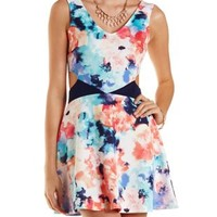 Multi Floral Print Cut-Out Skater Dress by Charlotte Russe