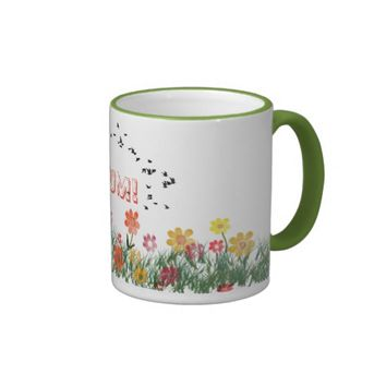 Summer meadow with a flock of flying swallows ringer mug