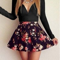 Hot Sale Long Sleeve V Neck Flower Printed Dress