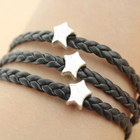 star beads bracelet--love bracelet,antique silver charm bracelet,black leather bracelet,friendship gift,MORE COLRS