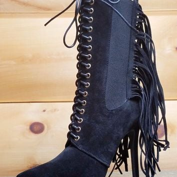 Alizay Black Back Fringe Pointy Toe Lace Up High Heel Boot