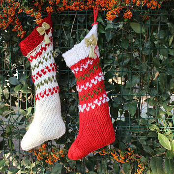 White Knit Christmas Stocking Set Shabby Chic Stocking Ready To Ship Hand Knitted Stocking