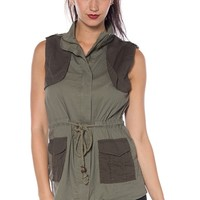 Utility Time Army Vest - Olive from Glam at Lucky 21