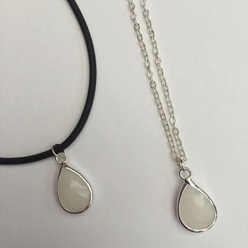 Boho White Jade Pendant Necklace, Charm Choker, Dainty Layering Necklace, Crystal Drop, Soft Grunge Choker, Cord Necklace, Silver Necklace