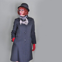 Vintage Coat - 1960s Black Wool Coat - Outerwear for Women