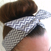Dolly Bow, Silver Grey Chevron, Wire Headband 50s Hair Accessory Pinup Hair accessory Teen Woman Girl Hair Accessory