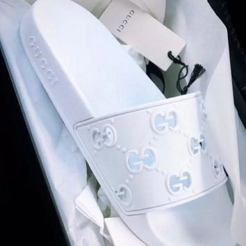 White GUCCI Leather Sides Slipper Sandals