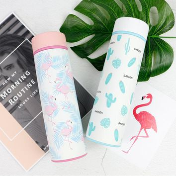 Flamingo/Cactus Printed Stainless Steel Insulated Thermos
