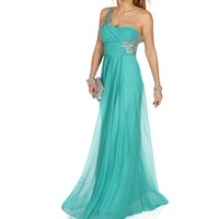 Lizette- Mint Single Shoulder Prom Dress
