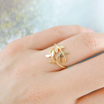 leaf ring in gold by LemonTreeLand on Etsy