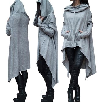 Women Casual Fashion Solid Color Loose Long Sleeve Irregular Long Section Hooded Sweater Tops
