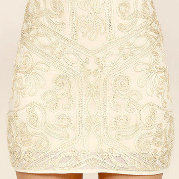 Feeling Emotion Cream Beaded Mini Skirt