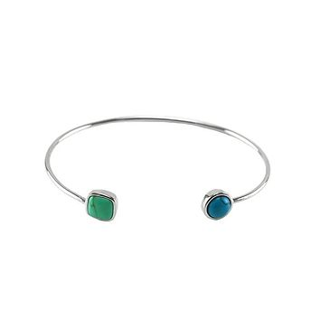 Fulviam Natural Turquoise Green Stone Wire Bracelet