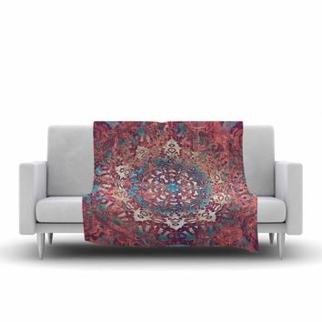 "Nina May ""Magi Mandala Rose Gold"" Coral Teal Abstract Ethnic Mixed Media Painting Fleece Throw Blanket"