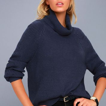 Park City Navy Blue Cowl Neck Knit Sweater