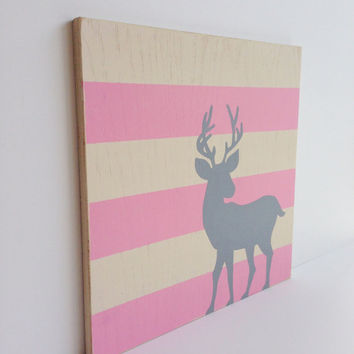 Hand Painted Woodland Deer Woodland Nursery Art by SweetBananasArt