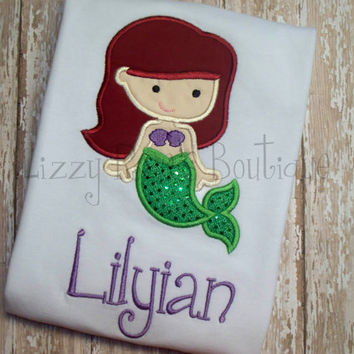 Mermaid applique shirt- Princess applique shirt- Cutie applique shirt