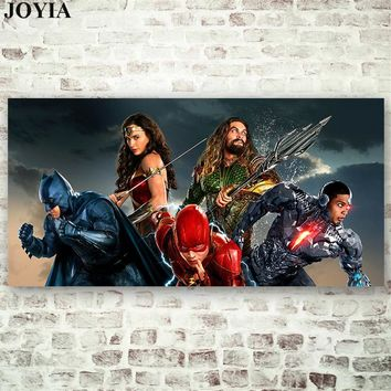 Batman Dark Knight gift Christmas Justice League Movie Poster Superheroes Wall Art Large Canvas Picture The Flash Aquaman Superman Wonder Woman Batman Cyborg AT_71_6