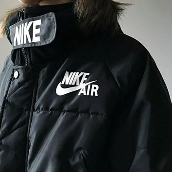 """NIKE"" Wnter Fashionable Hooded Zipper Cardigan Sweatshirt Jacket Coat Windbreaker Sportswear Black"