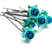 Multi-Tonal Bright Blue Roses on Hair Grips Ballet and Bridal Wear Bun Accessories Hair Decorations
