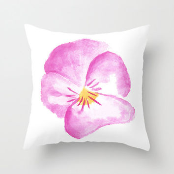 Cute girly pillow cover, pink pansy hand illustrated cushion cover, sofa throw pillow in pink and white floral, gift for her.