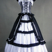 Free Shipping Lolita one piece Sleeveless Long Black & White gothic victorian ball gowns-in Evening Dresses from Apparel & Accessories on Aliexpress.com