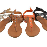 Womens Roman Gladiator Spike Studded T Strap Sandals Flats Shoes 4 Colors