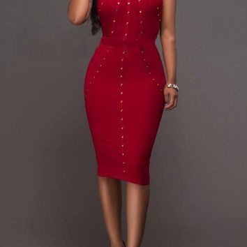 Red Patchwork Cut Out Studded Halter Neck Club Bodycon Party Midi Dress