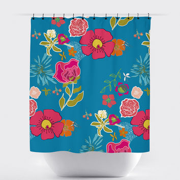 Blue Shabby Chic Floral Shower Curtain