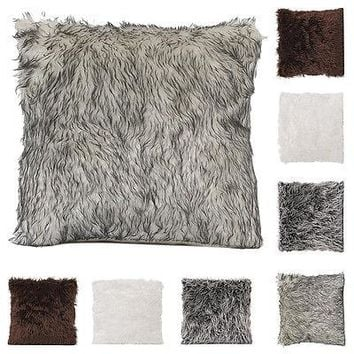 Manmade Fur Fashion Soft Fur Square Throw Pillow Cases Home Decor Sofa Waist Cushion Cover