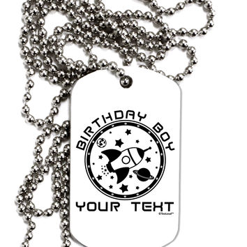 Personalized Birthday Boy Space with Customizable Name Adult Dog Tag Chain Necklace