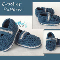 Crochet Baby Shoes Pattern, Baby Booties Pattern, Blue Slippers Crochet Pattern, CP-206