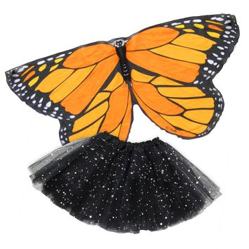 Butterfly Wing Dance Cape Kids Dress Up with Tutu — Orange