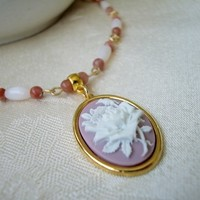 Lilac Rose Cameo Necklace Pink Lepidolite White Cat's Eye Beaded Chain