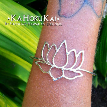 Lotus Flower Sterling Silver Bangle