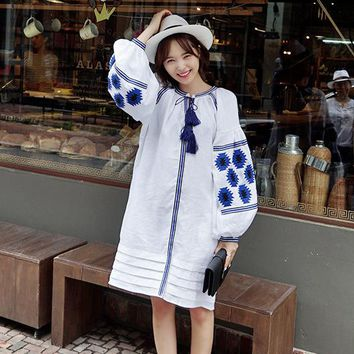 ethnic designs embroidery women vintage bohemian boho hippie dress clothes blue embroidered dress
