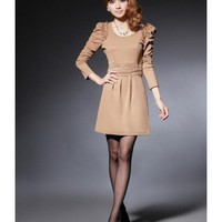 Khaki Women Autumn New Style Korean Style Slim Long Sleeve Cotton Dress M/L/XL @WH0407k $20.99 only in eFexcity.com.