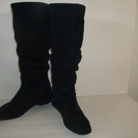 free ship vintage CALVIN KLEIN Black leather knee slouch boots hipster indie boho women size 9 us 39