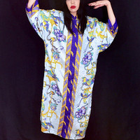 Vintage 80s Light Satiny Polyester Flower Mockingbird Baroque Print Muumuu Kaftan One Size Fits Most
