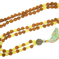 Meditation Mala Beads 108+1 Rudraksha Yellow Jade Necklace Yoga Jewelry