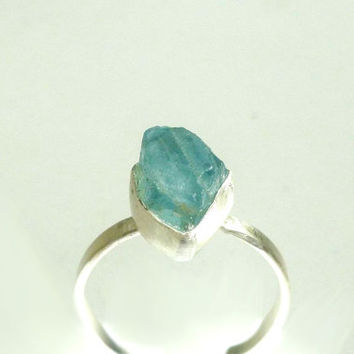 Aquamarine Ring Natural Raw Crystal Rough in Recycled Silver Ring Raw Aquamarine Crystal Ring