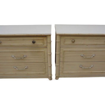 Faux-Bamboo 3-Drawer Chests,  Pair