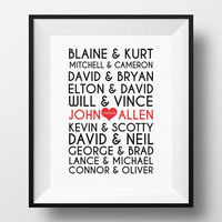 Famous Gay Couples Print wall art custom names, printable decor typography,Gay Wedding Gift, Engagement Gift - Gay Anniversary Gift, Mr & Mr