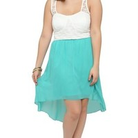 Plus Size High Low Dress with Lace Illusion Bodice and Keyhole Back