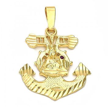 Gold Layered 5.186.009 Religious Pendant, Anchor and Santa Barbara Design, with Ruby Cubic Zirconia, Diamond Cutting Finish, Golden Tone