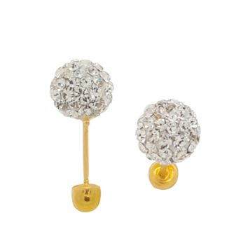 Round Rhinestone Ball Earring 14K Solid Yellow Gold