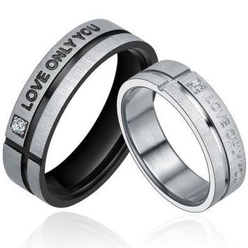 """Stainless Steel """"LOVE ONLY YOU"""" W. Cubic Zirconia Couple Promise Ring [7981083463]"""