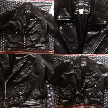 Vintage 80s Black Leather Men's Biker Motorcycle Jacket XL