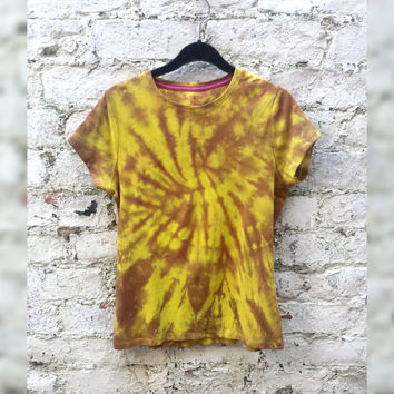 Tie Dye Tshirt Yellow to fit UK size 16 or US size 12 Festival Trippy Psychedelic T-shirt Gifts Yoga Clothing festival clothes psychedelic